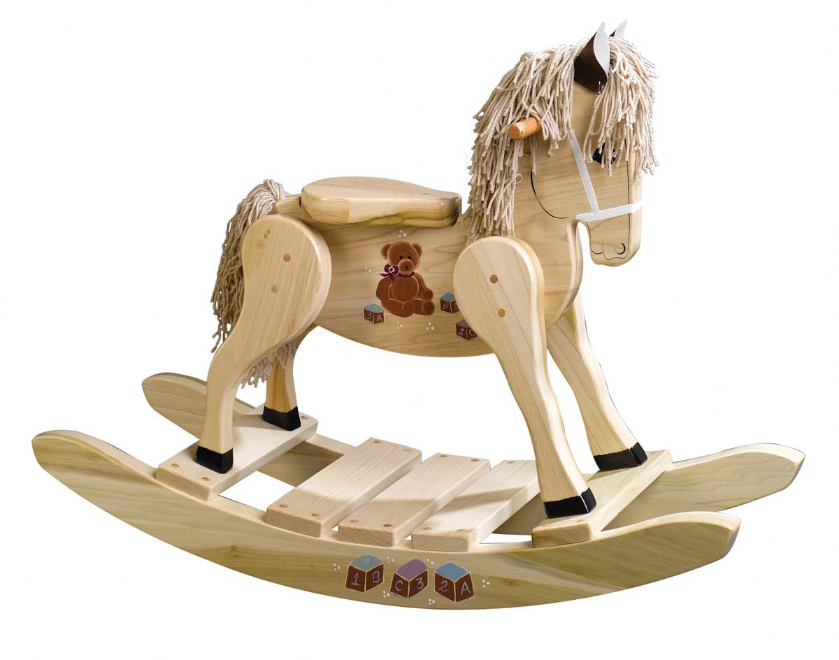 Wooden Rocking Horse ~ Wooden teddy bear painted rocking horse