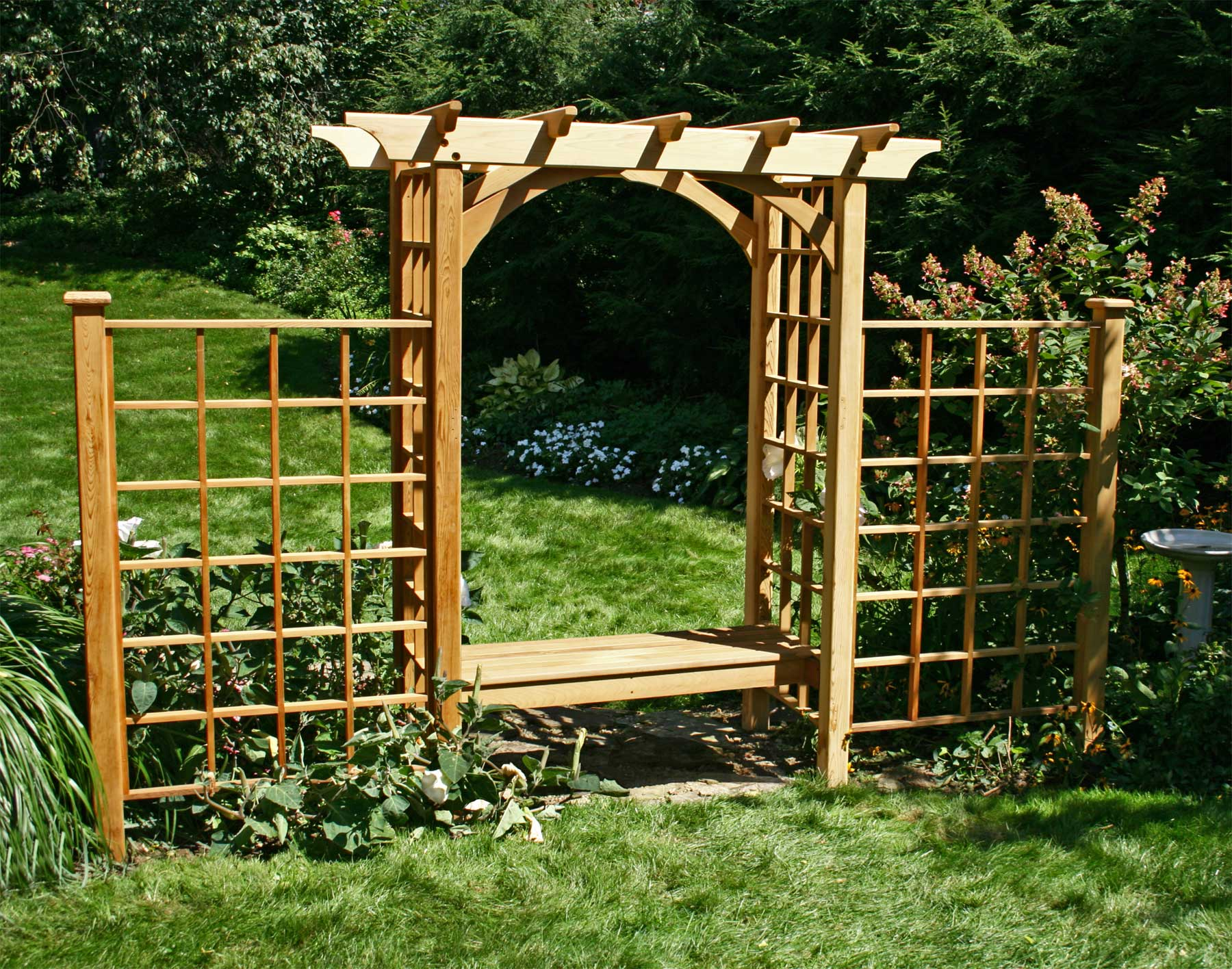red cedar canterbury arbor w bench 2 wings. Black Bedroom Furniture Sets. Home Design Ideas