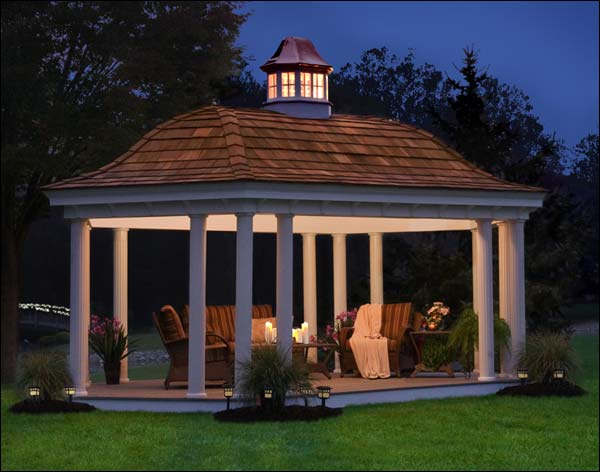 Gazebo Creations 12' x 28' Vinyl Elongated Hexagon Belle Gazebo at Sears.com
